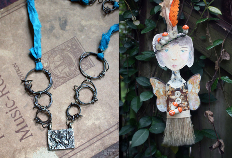 Old-paintbrush-garden-fairy wire-chain-fairy-pendant