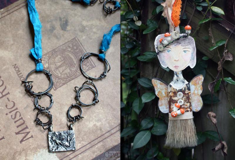 Old-paintbrush-garden-fairy wire-chain-fairy-pendant