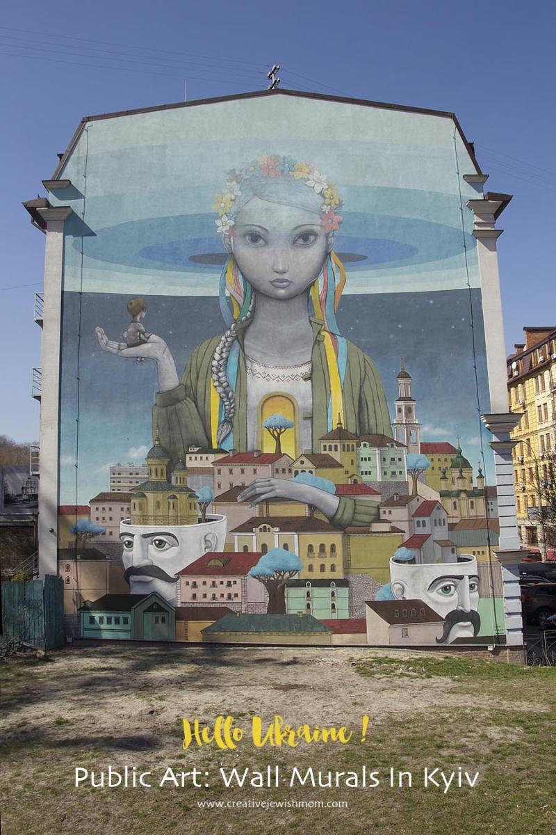 Huge Ukrainian Girl wall Mural Podil Kiev
