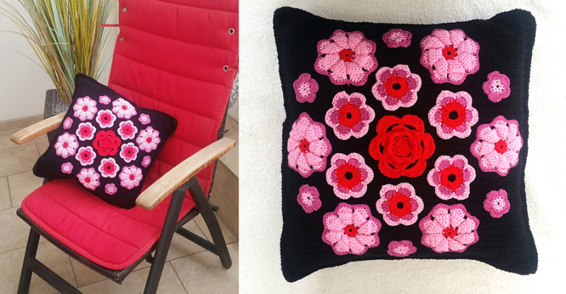 Crocheted flower applique pillow