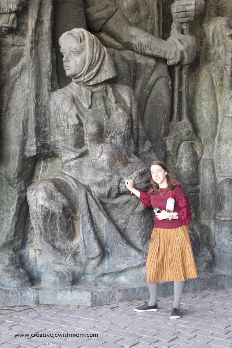 Strong Socialistic Woman With Missile Statue