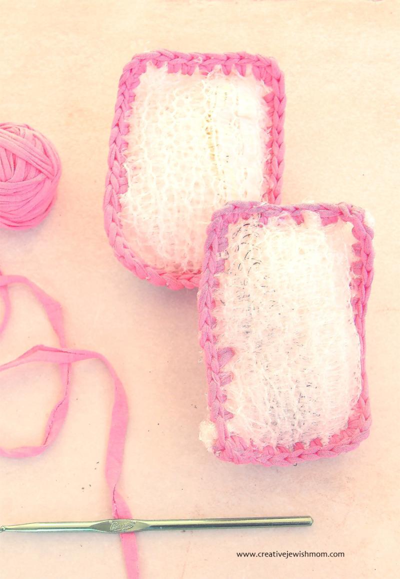 Crocheted Potato Sack Scrubbie with t-shirt yarn