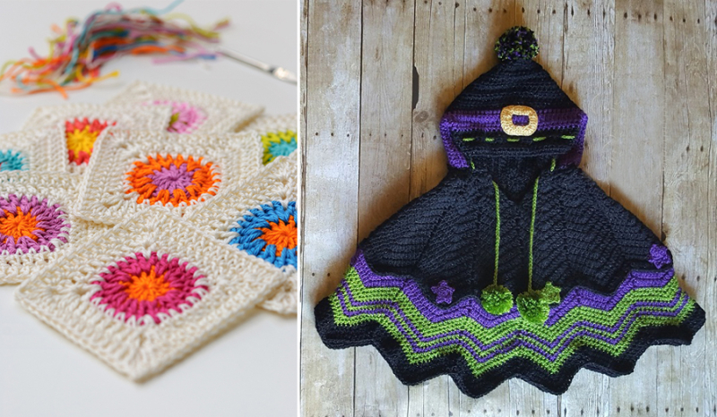 Crocheted wavy witch cape with hood granny with round center