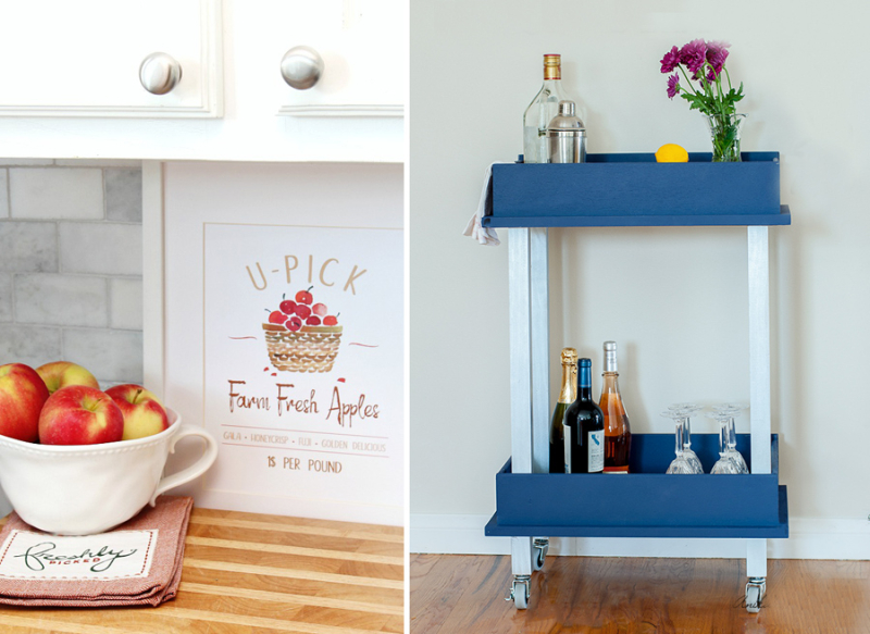 DIY-bar-cart-from-drawers U-Pick-Apples-Free-Fall-Printable-from-Clean-and-Scentsible