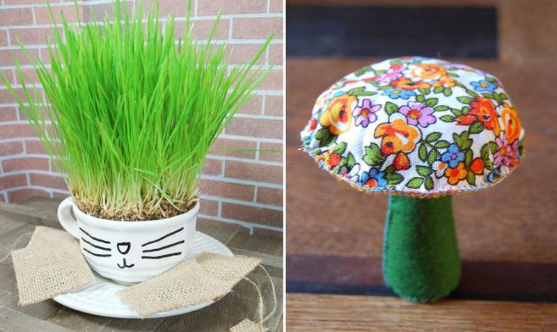 Fabric-mushroom catnip-tea-cup