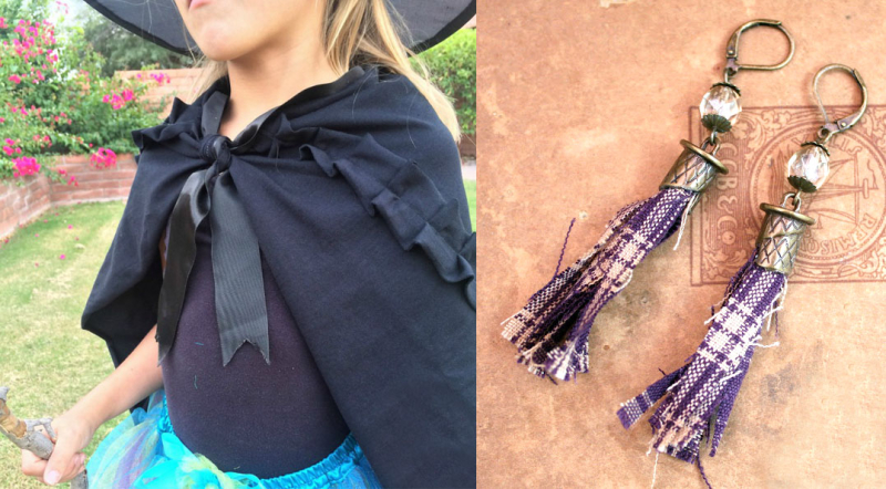 Purple+plaid+antiqued+brass+earrings+tassel+earrings costume-cape-from-t-shirt