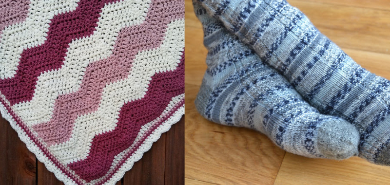 Crocheted wavy blanket knit striped blues socks