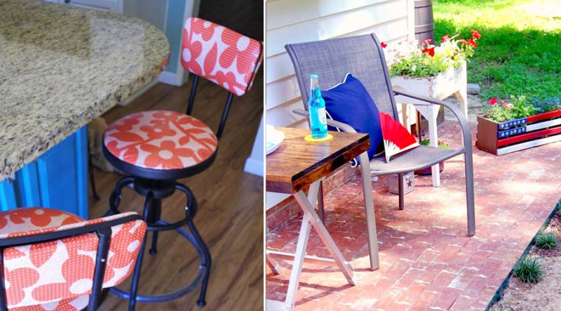DIY brick patio how to recove barstools