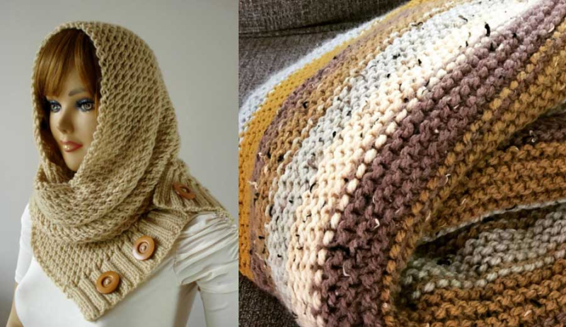 Knit hood or cowl with buttons striped knit blanket