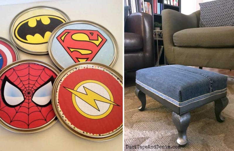 Paint-can-lids-DIY-wall-art denim-footstool