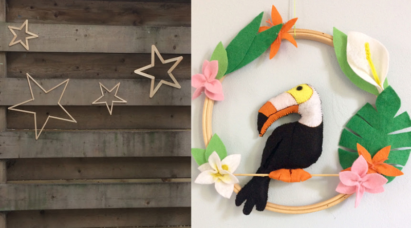 Felt toucan with flowers hoop art