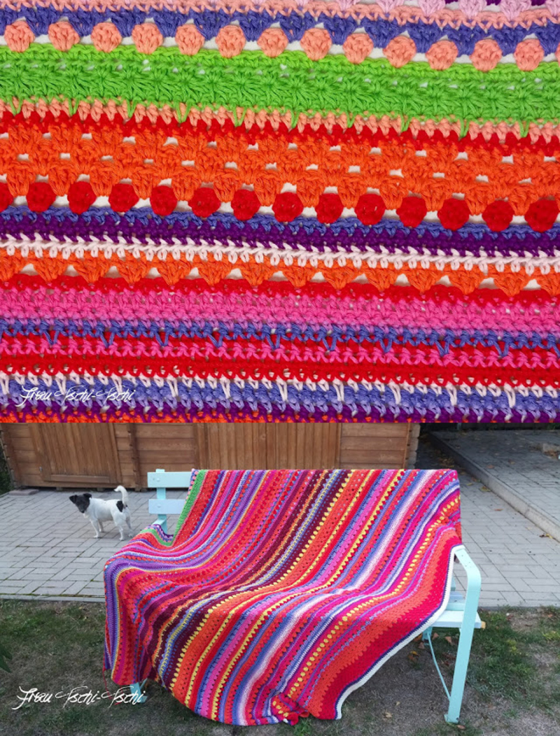 Crocheted temperature striped blanket