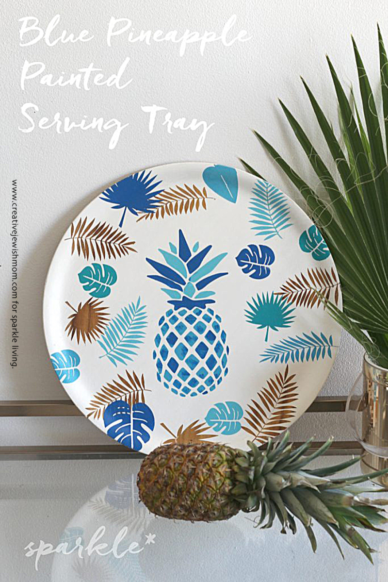 Stencil-Pineapple-Painted-Serving-Tray-683x1024