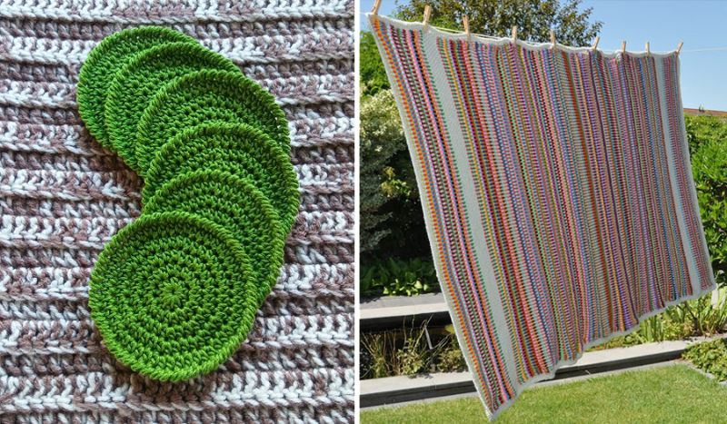 Crocheted striped granny blanket crocheted round coasters