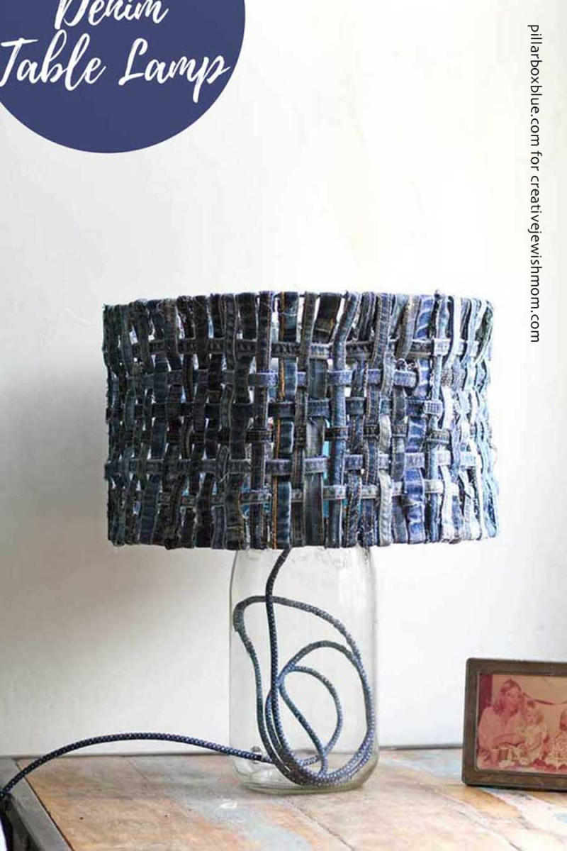 Woven-table-lampshade-with-denim-strips