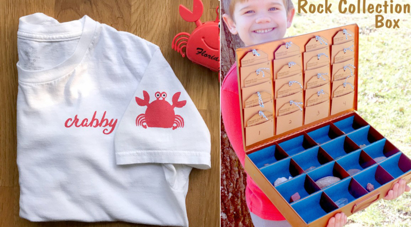 Kids rock collection box stencilled crab t-shirt
