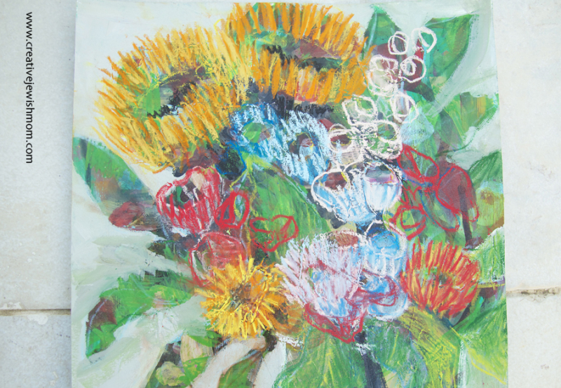 Floral-Painting-With-Pastel-Drawing-close-up