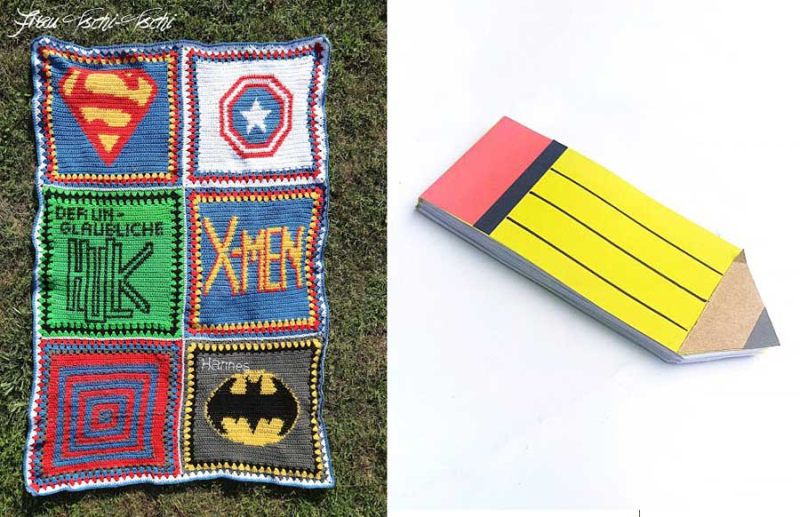 Crocheted-super-hero-squares-baby-blanket pencil-shaped-pad
