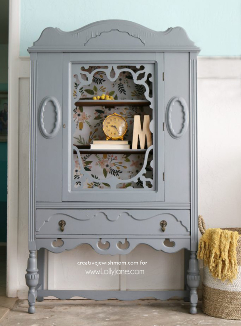 Gray-hutch-floral-paper-makeover