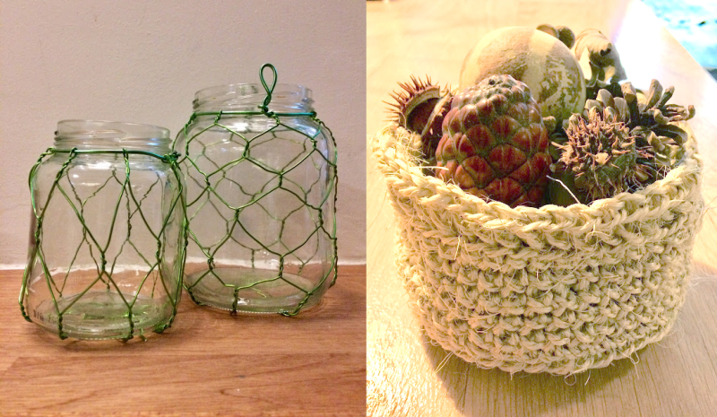 Crocheted rope basket woven wire covered candle jars