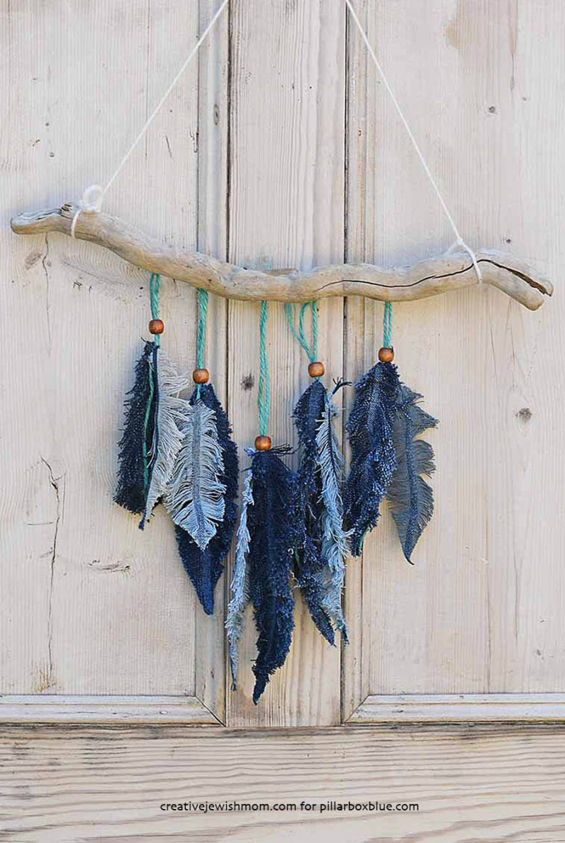 Denim-feather-wall-hanging