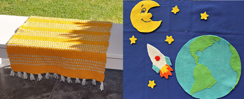 Space-world-felt-applique crocheted-small-blanket