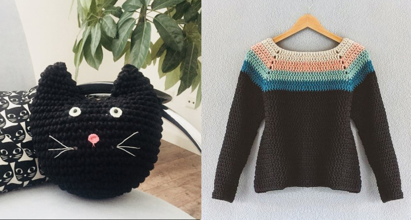 Crocheted cat pillow crocheted striped neck sweater