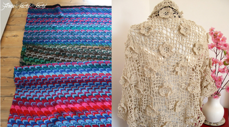 Crocheted mesh shawl with flowers crocheted temperature blanket