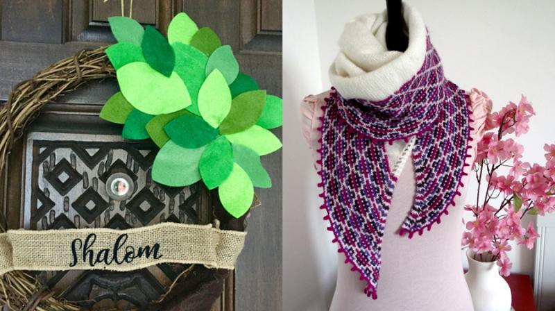 Tu B'shevat door decoration knit peruvian scarf
