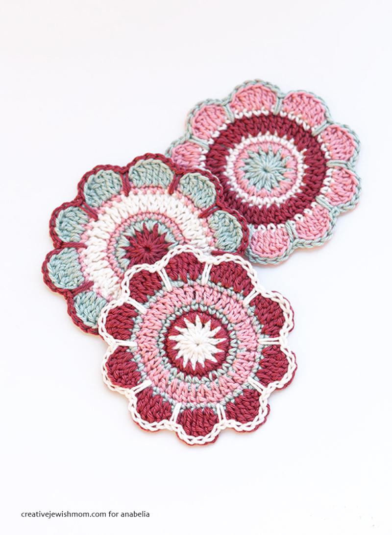 Crocheted -Spring-Flowers-coasters