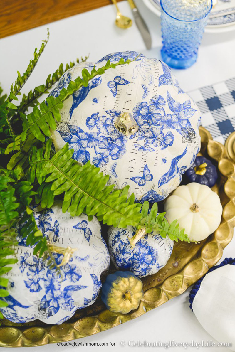 Blue-and-White-decoupage-pumpkin
