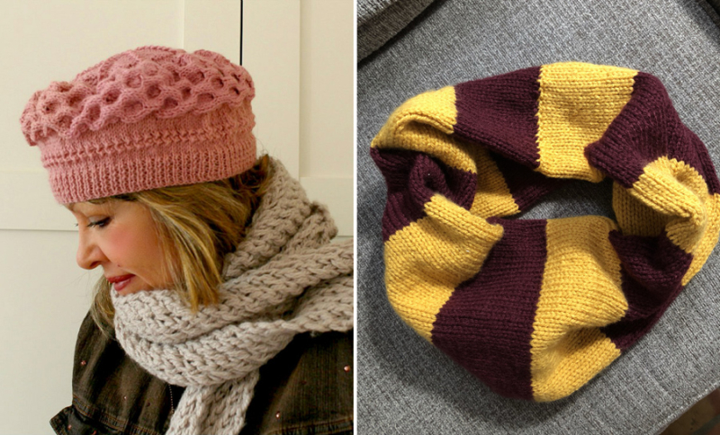 Knit-cabled-beret striped-harry-potter-cowl