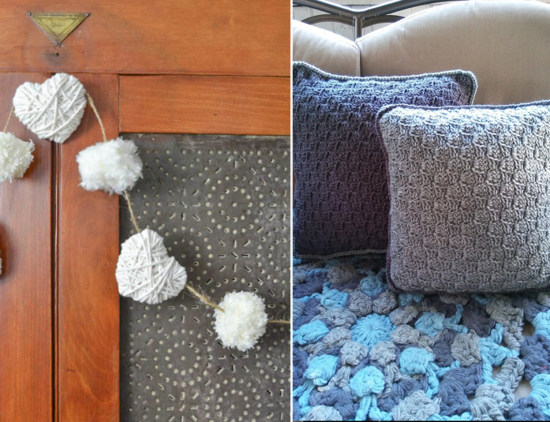 DIY-yarn-wrapped-hearts crocheted-C2C-pillows