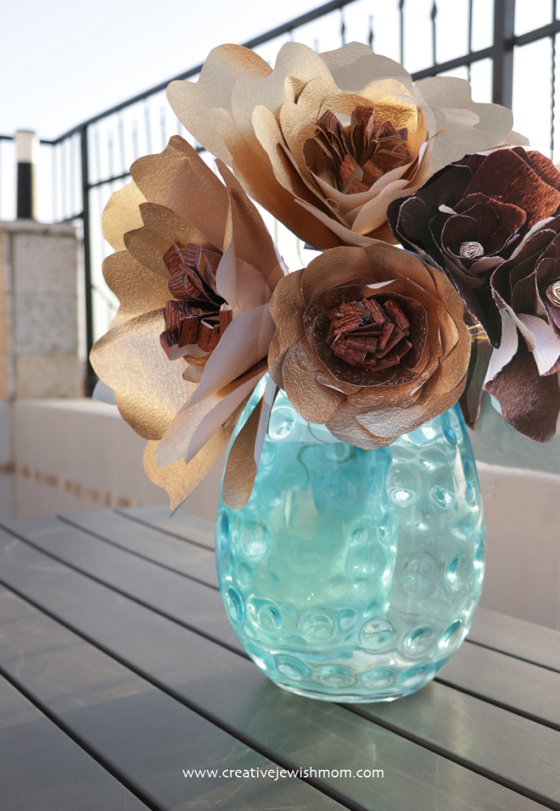 Giant gold Paper Flower bouquet with glass vase