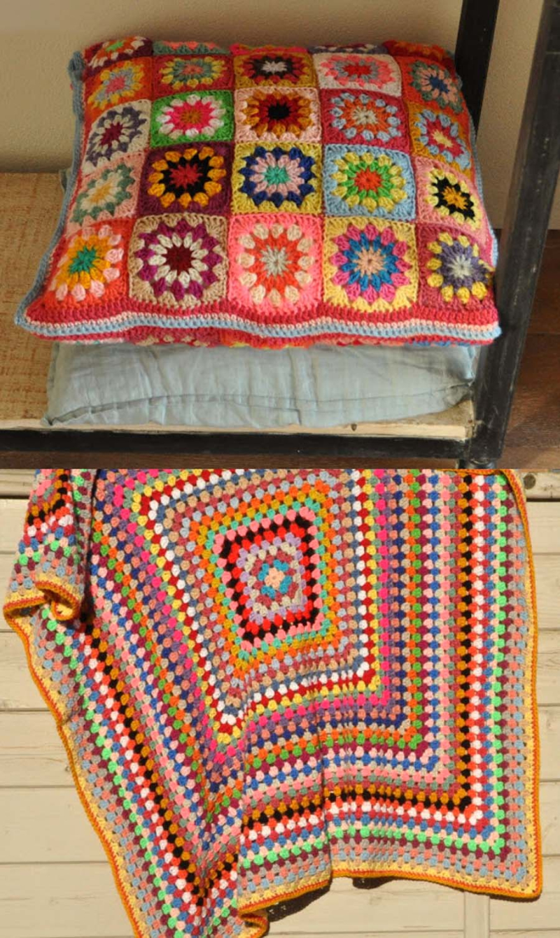 Granny-square-pillow granny-square-blanket