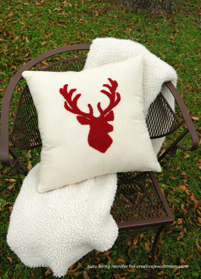 French-knot-stag-head-pillow