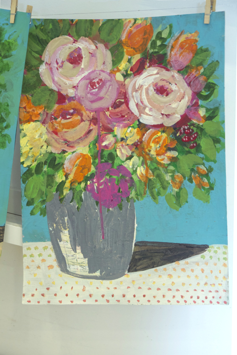 Floral Painting Loose with polka dot tablecloth