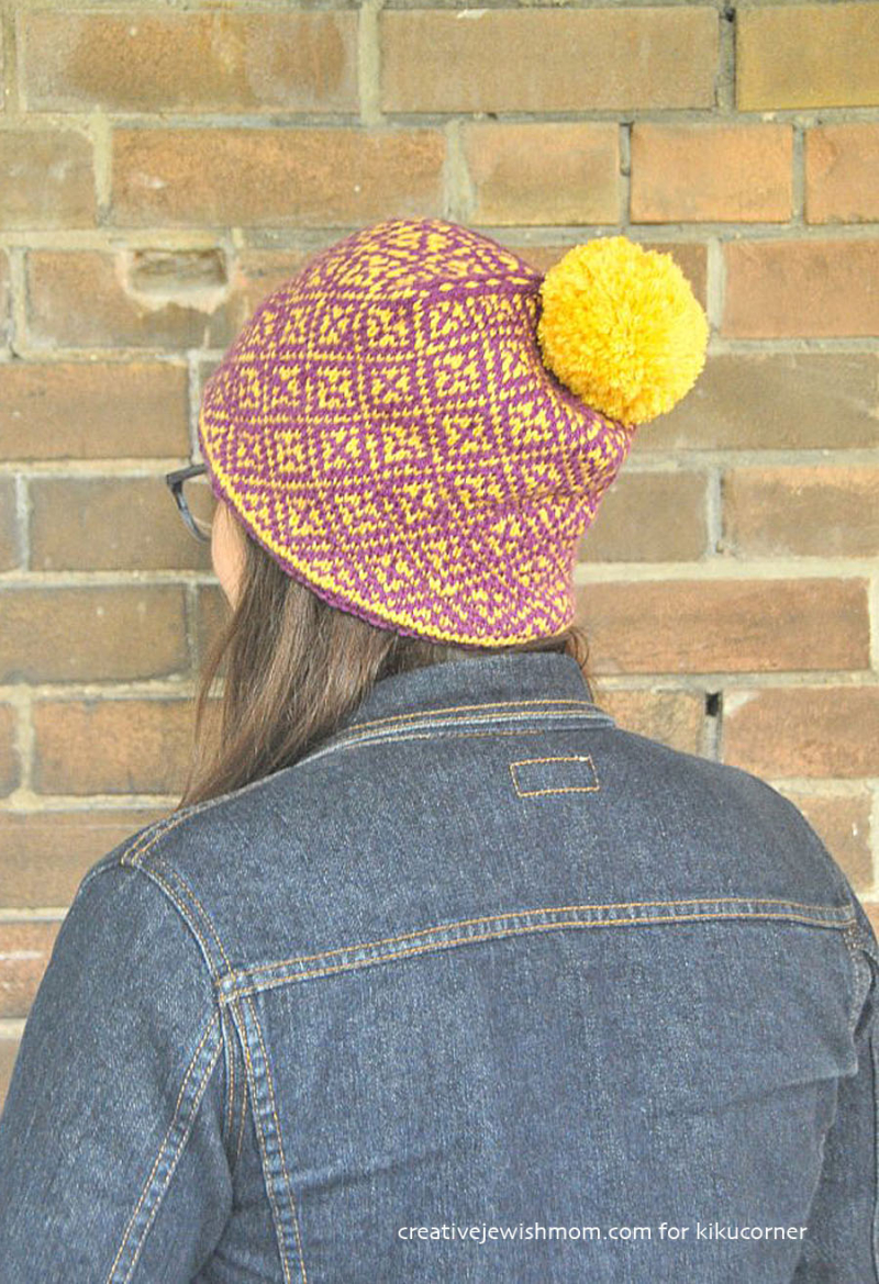 Knit-hat-with-diamond-pattern