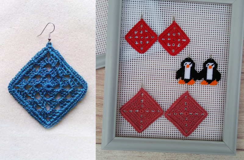 Granny square earrings plastic canvas earring holder