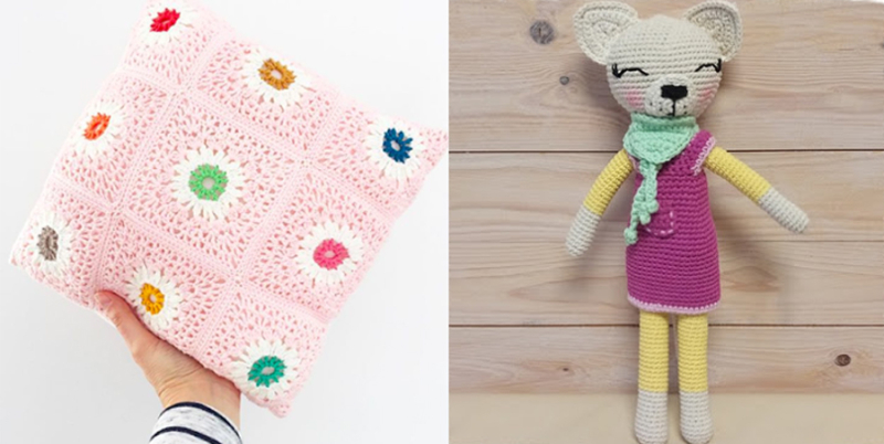 Daisy+flower+pillow crocheted cat doll
