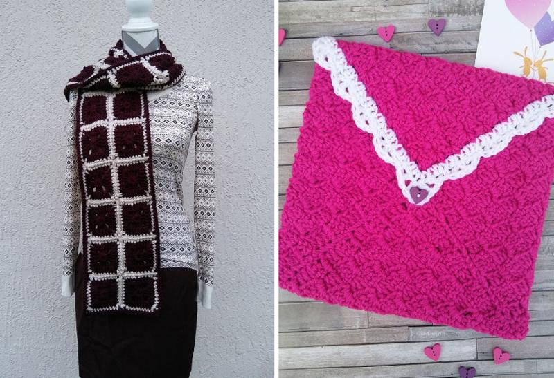 Crocheted c2C envelope windowpane crocheted scarf