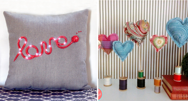 Love light up pillow stuffed hearts and spools