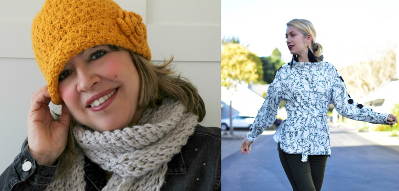 Star stitch crocheted hat faces pattern shirt