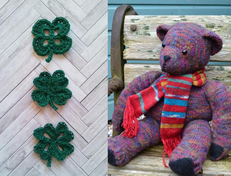 Large-knit-teddy-bear crocheted-4-leaf-clover
