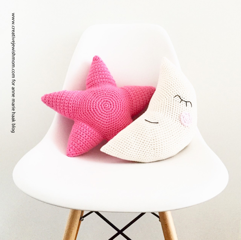Crocheted-moon-and-star-pillows