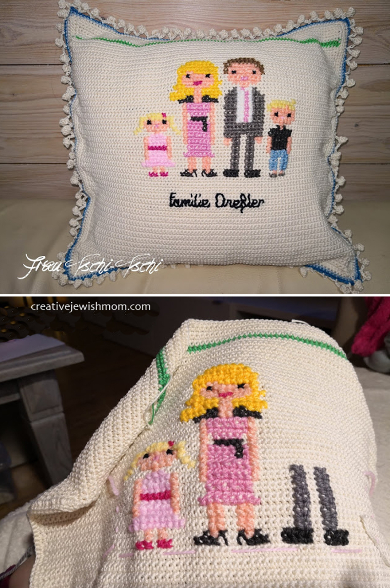 Cross stitch family portrait on crocheted pillow