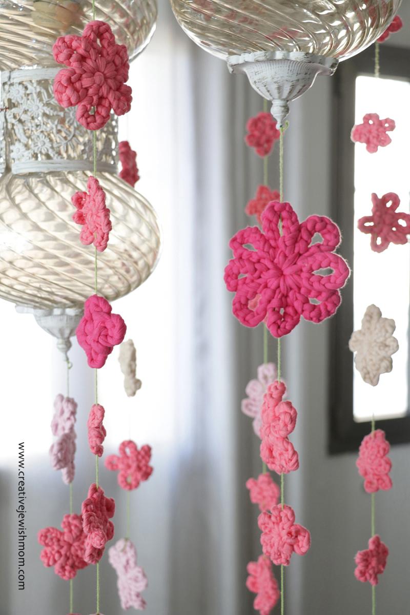 Crocheted flower mobile