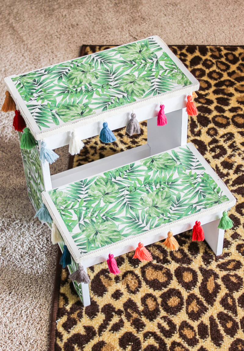 DIY-step-stool-makeover-with-scrapbook-paper
