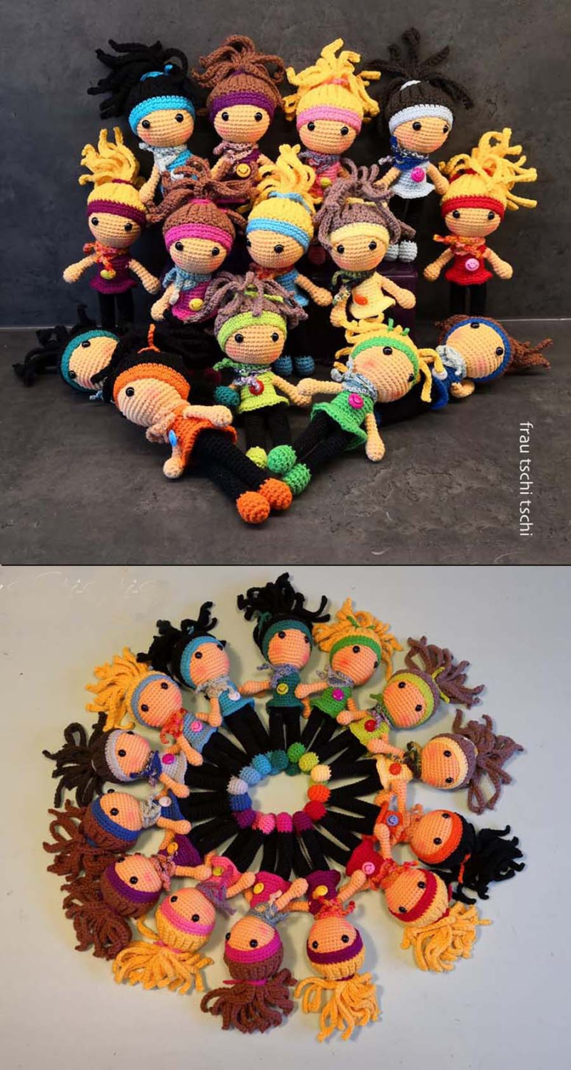 Crocheted amigurumi cheerleader dolls