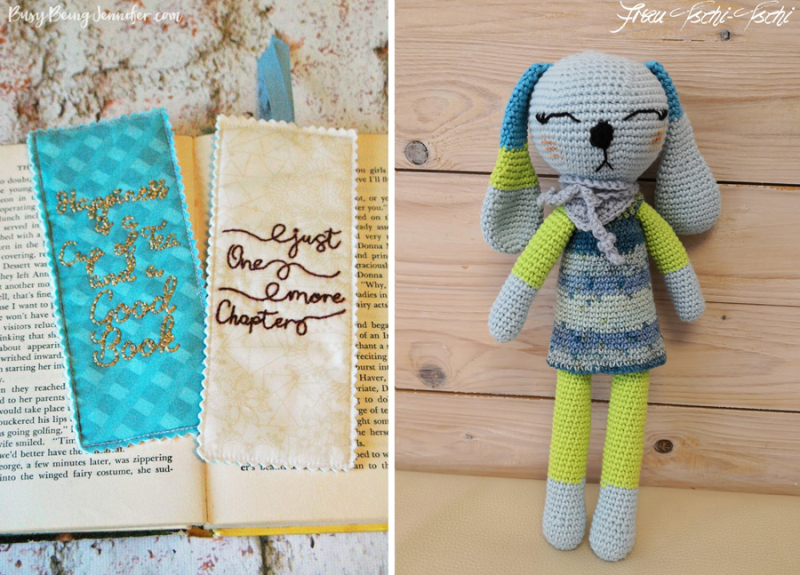 DIY-Hand-Embroidered-Bookmarks crocheted bunny with skirt